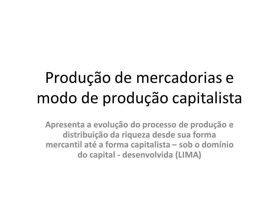 Produção de mercadorias e modo de produção capitalista