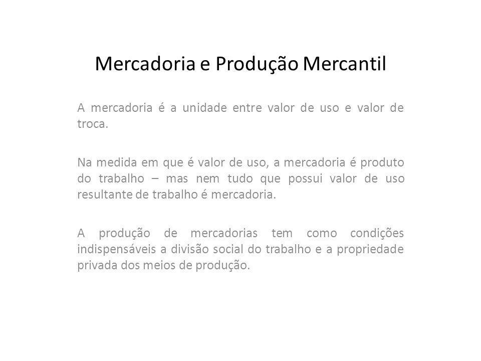 Mercadoria e Produção Mercantil