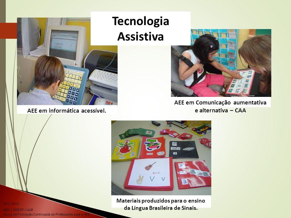 Tecnologia Assistiva AEE em informática acessível. AEE em Comunicação aumentativa e alternativa – CAA.
