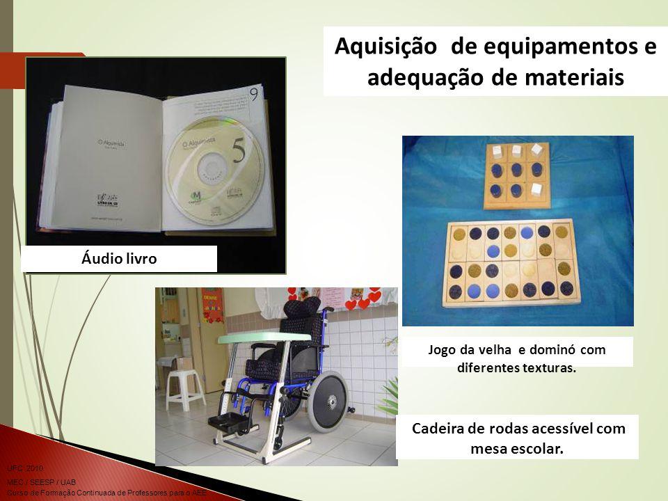 Aquisição de equipamentos e adequação de materiais