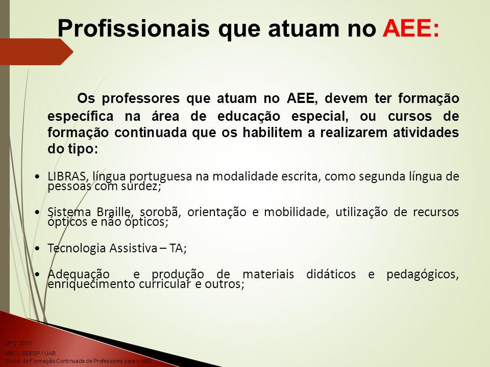 Profissionais que atuam no AEE: