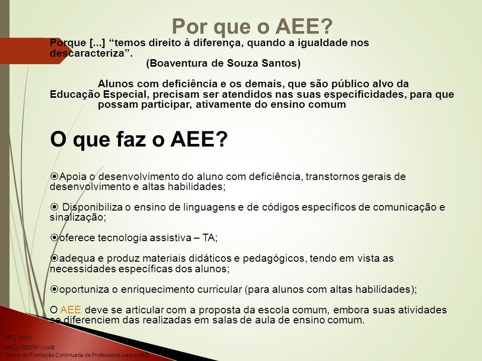 Por que o AEE O que faz o AEE