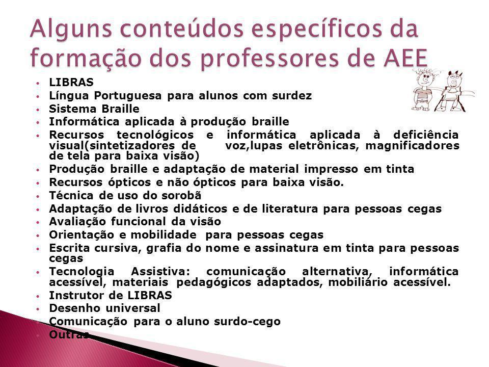 Alguns conteúdos específicos da formação dos professores de AEE