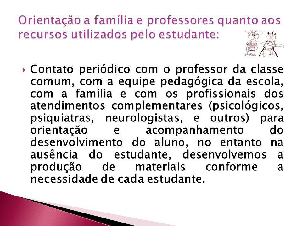 Orientação a família e professores quanto aos recursos utilizados pelo estudante:
