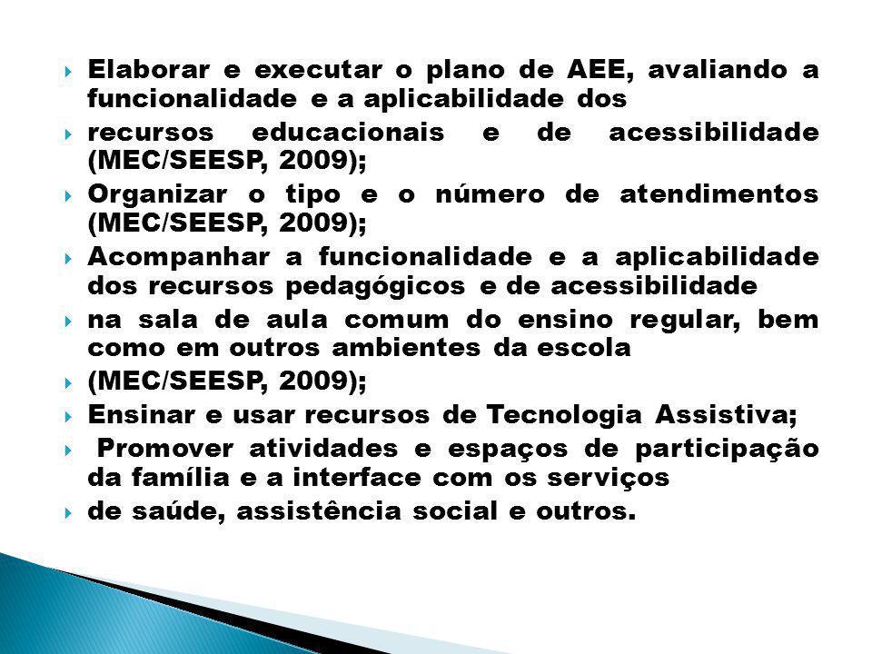 Elaborar e executar o plano de AEE, avaliando a funcionalidade e a aplicabilidade dos