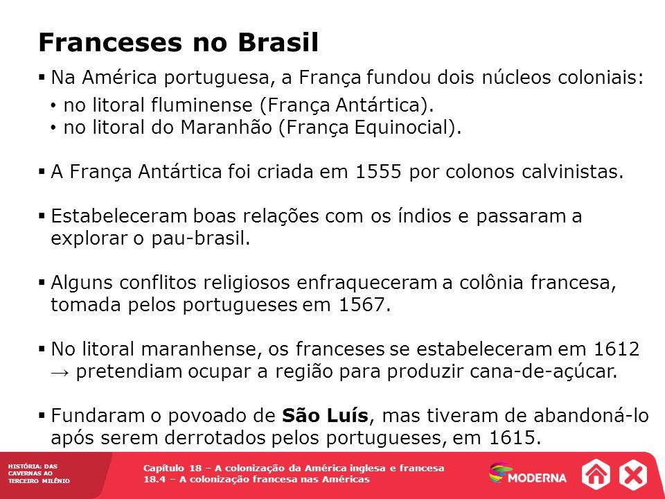 Franceses no Brasil Na América portuguesa, a França fundou dois núcleos coloniais: no litoral fluminense (França Antártica).
