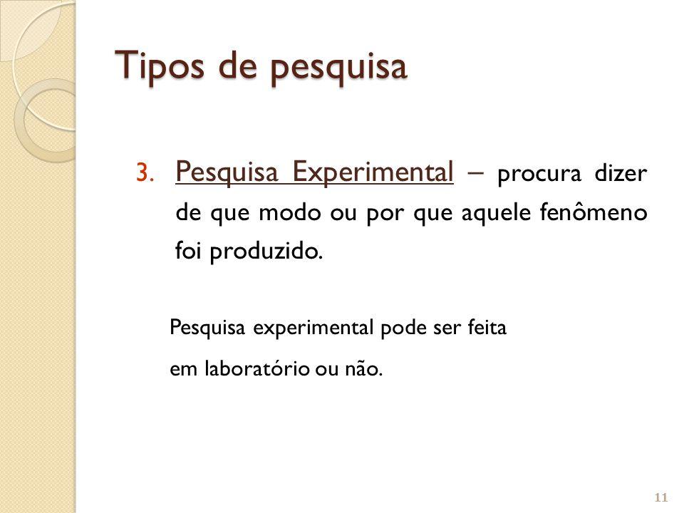 Tipos de pesquisa Pesquisa Experimental – procura dizer de que modo ou por que aquele fenômeno foi produzido.