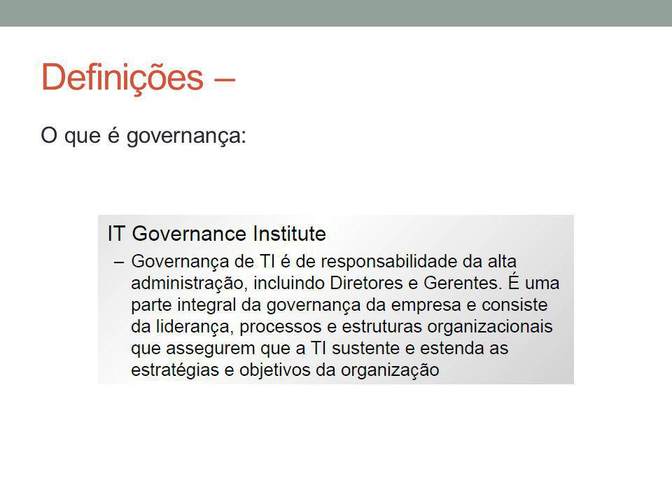 Definições – O que é governança: