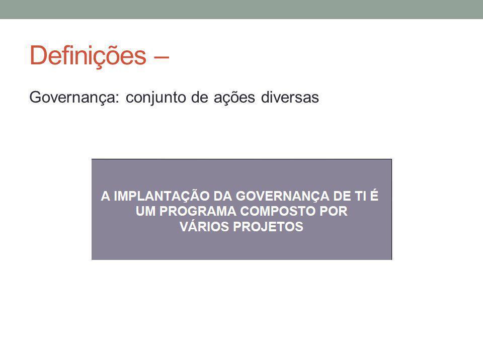 Definições – Governança: conjunto de ações diversas