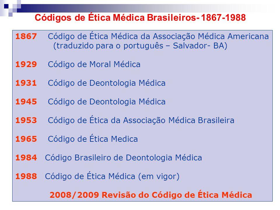 Códigos de Ética Médica Brasileiros- 1867-1988