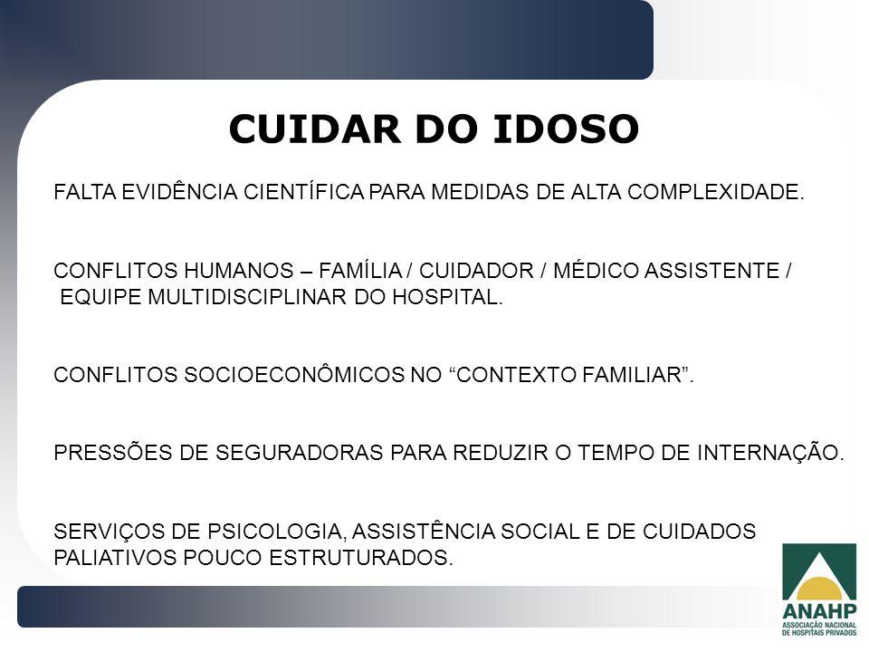CUIDAR DO IDOSO FALTA EVIDÊNCIA CIENTÍFICA PARA MEDIDAS DE ALTA COMPLEXIDADE. CONFLITOS HUMANOS – FAMÍLIA / CUIDADOR / MÉDICO ASSISTENTE /