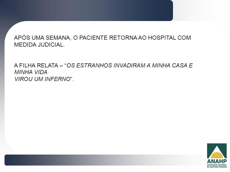 APÓS UMA SEMANA, O PACIENTE RETORNA AO HOSPITAL COM MEDIDA JUDICIAL.