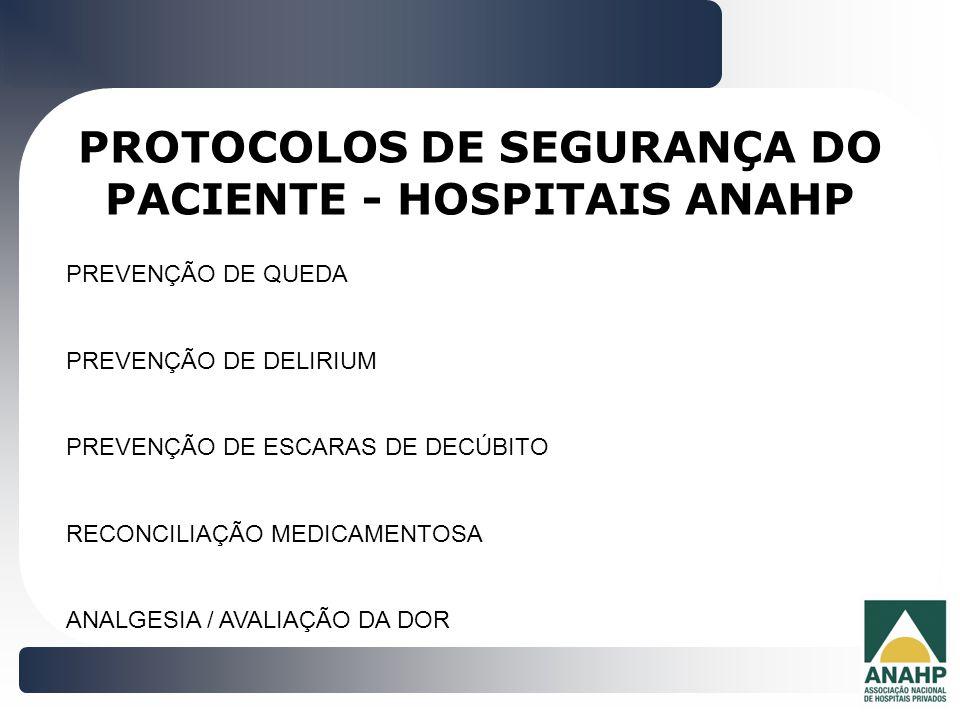 PROTOCOLOS DE SEGURANÇA DO PACIENTE - HOSPITAIS ANAHP