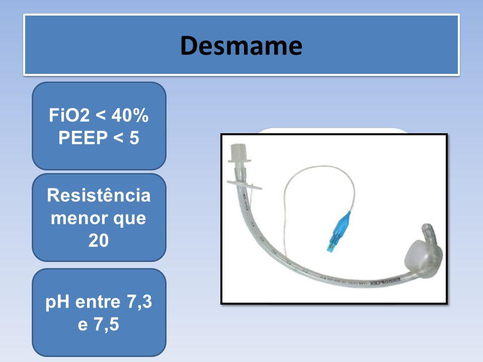 Desmame FiO2 < 40% PEEP < 5 Resistência menor que 20