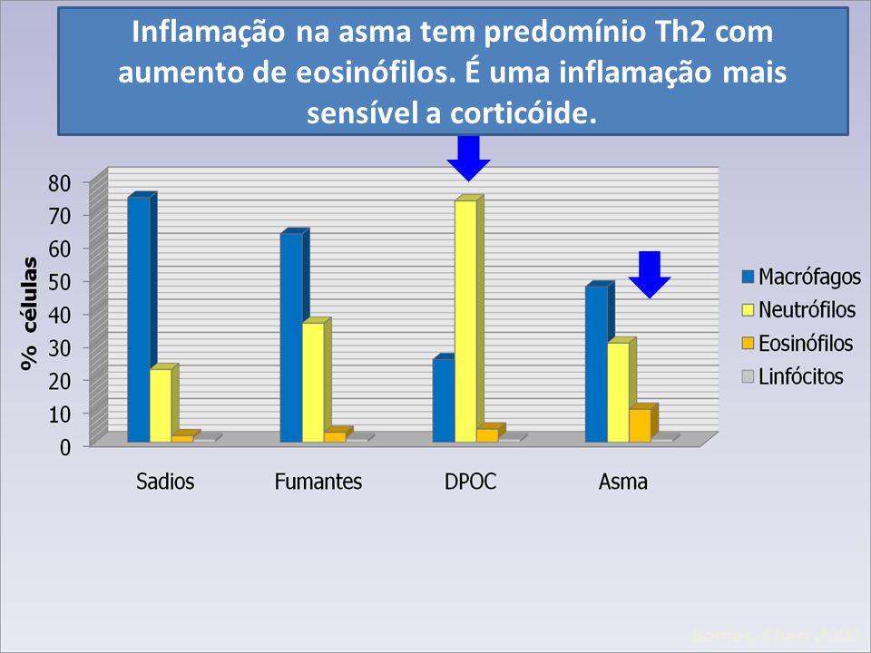 Inflamação na asma tem predomínio Th2 com aumento de eosinófilos