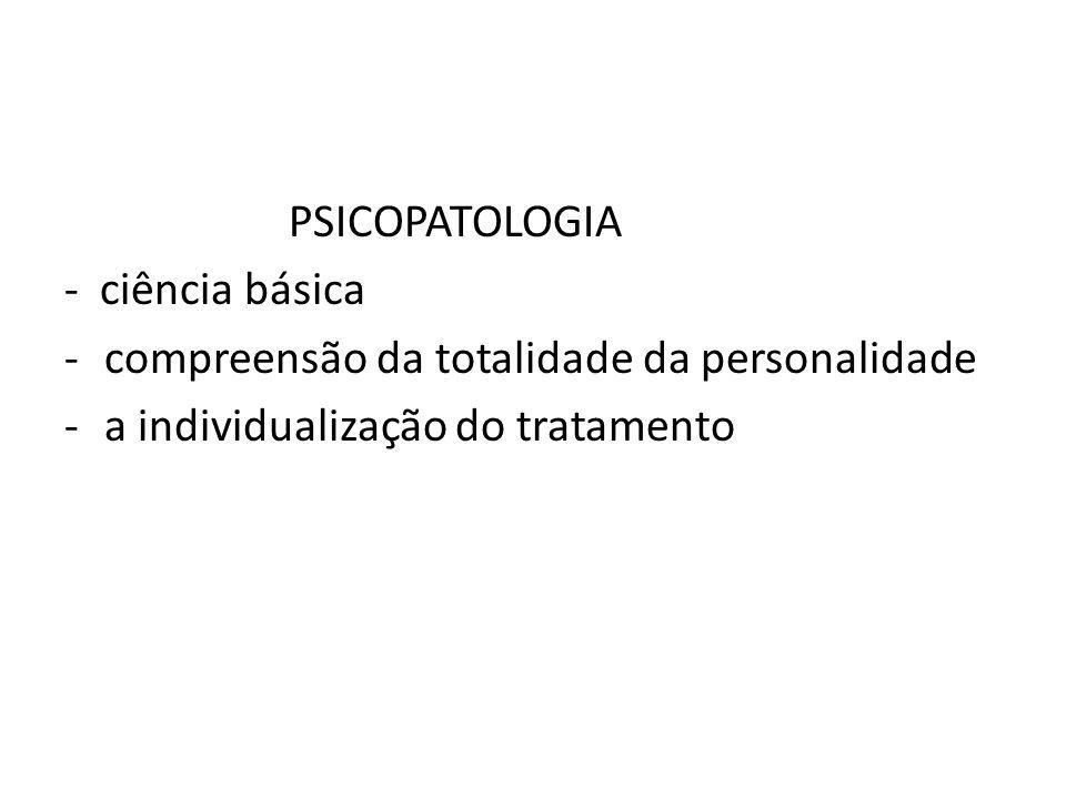 PSICOPATOLOGIA - ciência básica. compreensão da totalidade da personalidade.