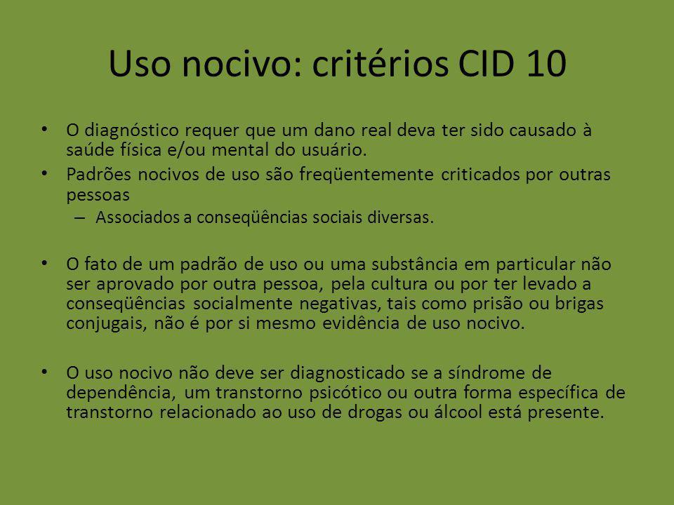 Uso nocivo: critérios CID 10