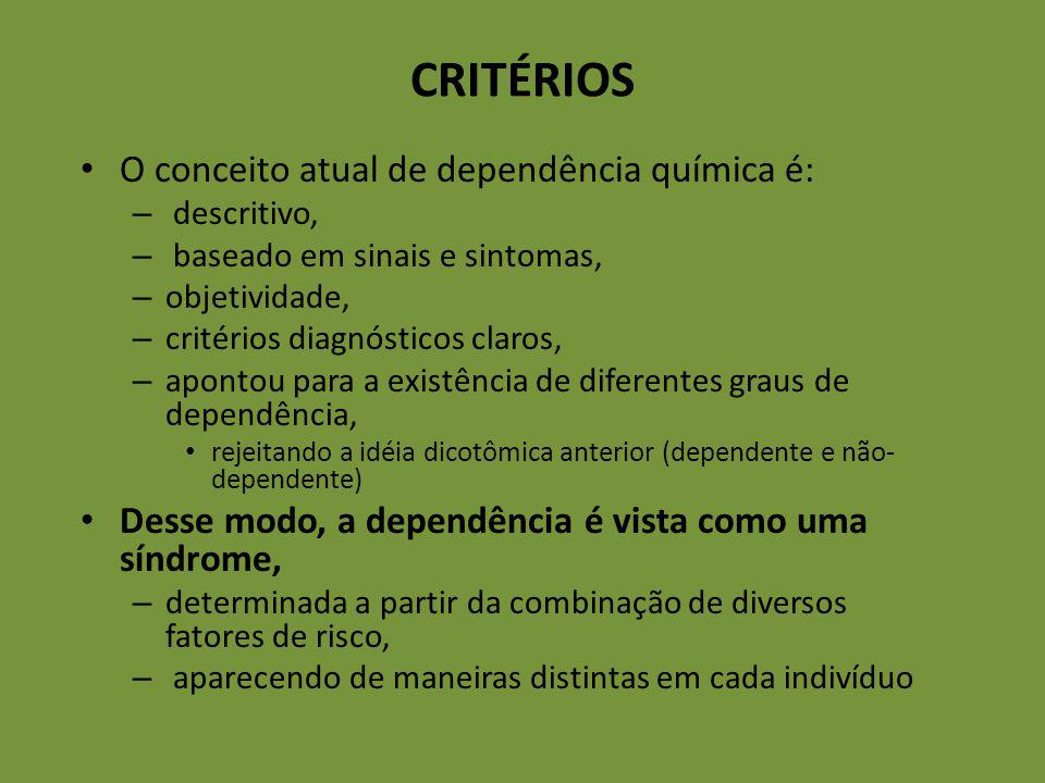 CRITÉRIOS O conceito atual de dependência química é: