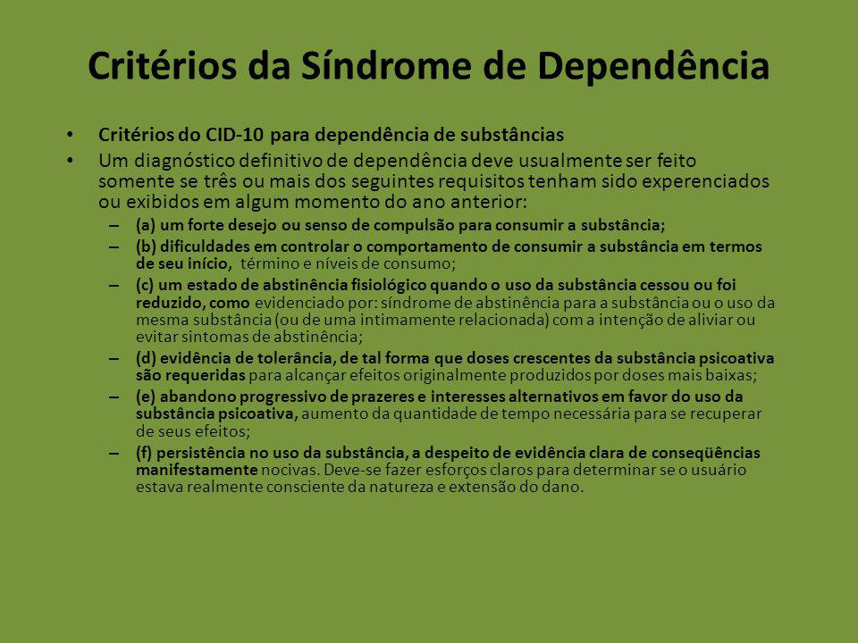 Critérios da Síndrome de Dependência