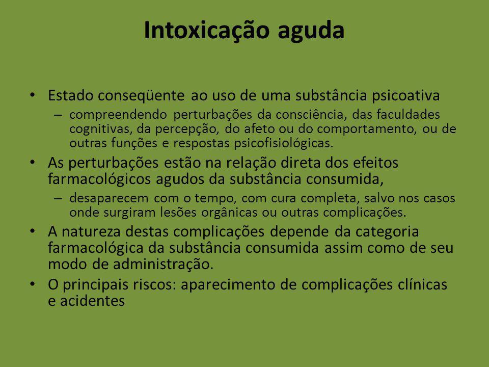 Intoxicação aguda Estado conseqüente ao uso de uma substância psicoativa.