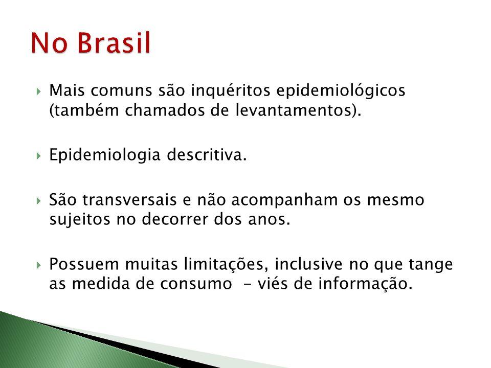 No Brasil Mais comuns são inquéritos epidemiológicos (também chamados de levantamentos). Epidemiologia descritiva.