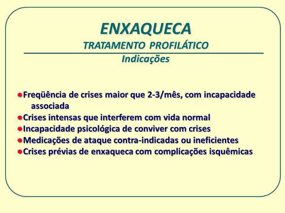 ENXAQUECA TRATAMENTO PROFILÁTICO Indicações