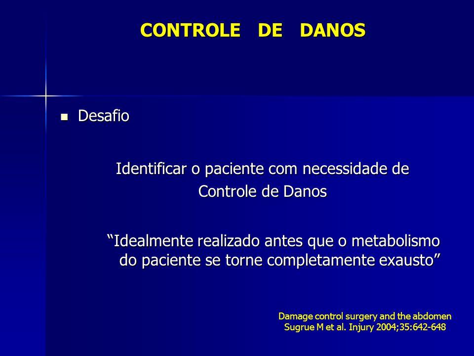 CONTROLE DE DANOS Desafio Identificar o paciente com necessidade de