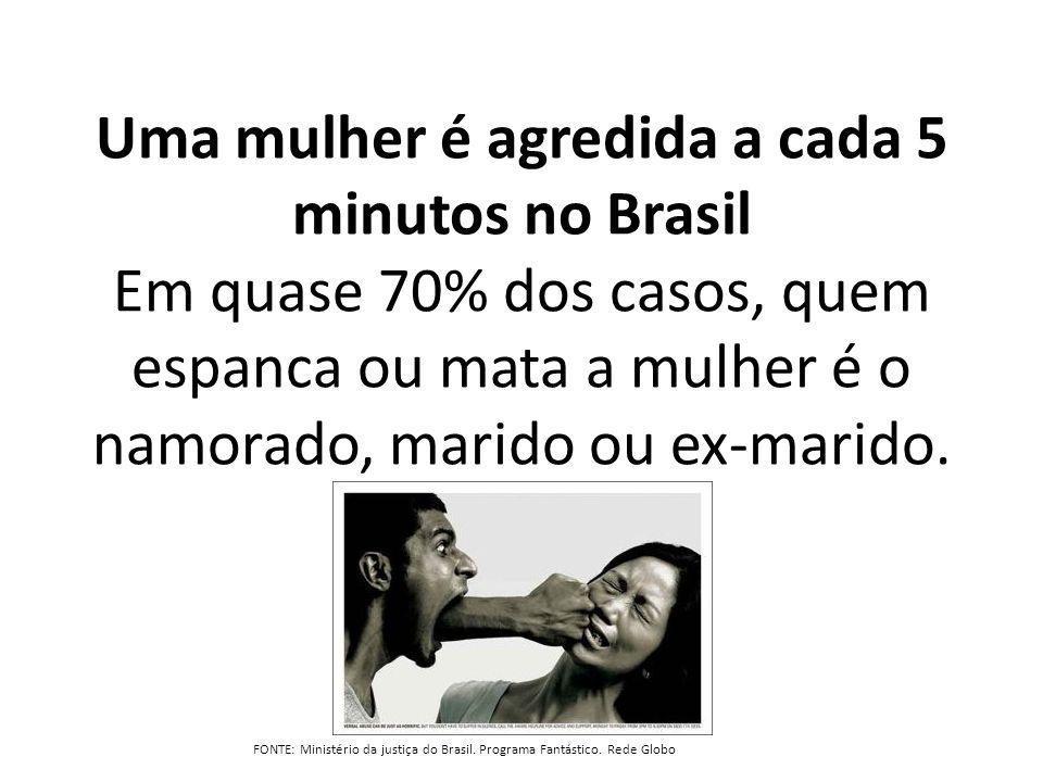 Uma mulher é agredida a cada 5 minutos no Brasil Em quase 70% dos casos, quem espanca ou mata a mulher é o namorado, marido ou ex-marido.