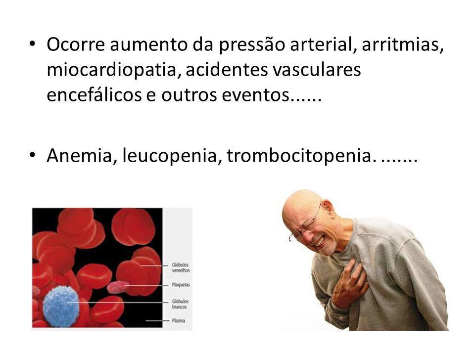 Ocorre aumento da pressão arterial, arritmias, miocardiopatia, acidentes vasculares encefálicos e outros eventos......