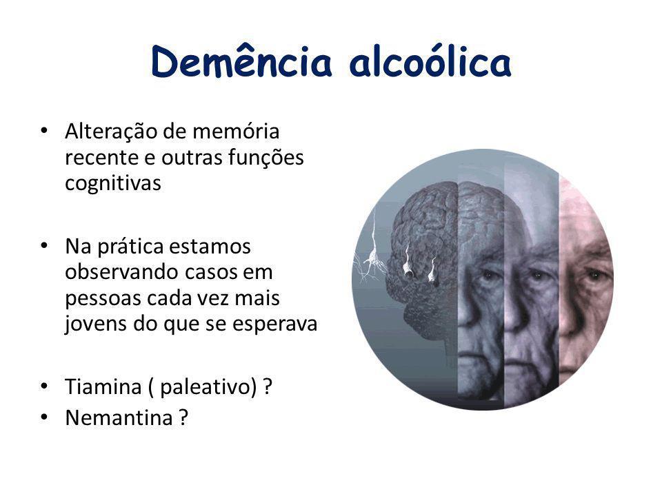 Demência alcoólica Alteração de memória recente e outras funções cognitivas.
