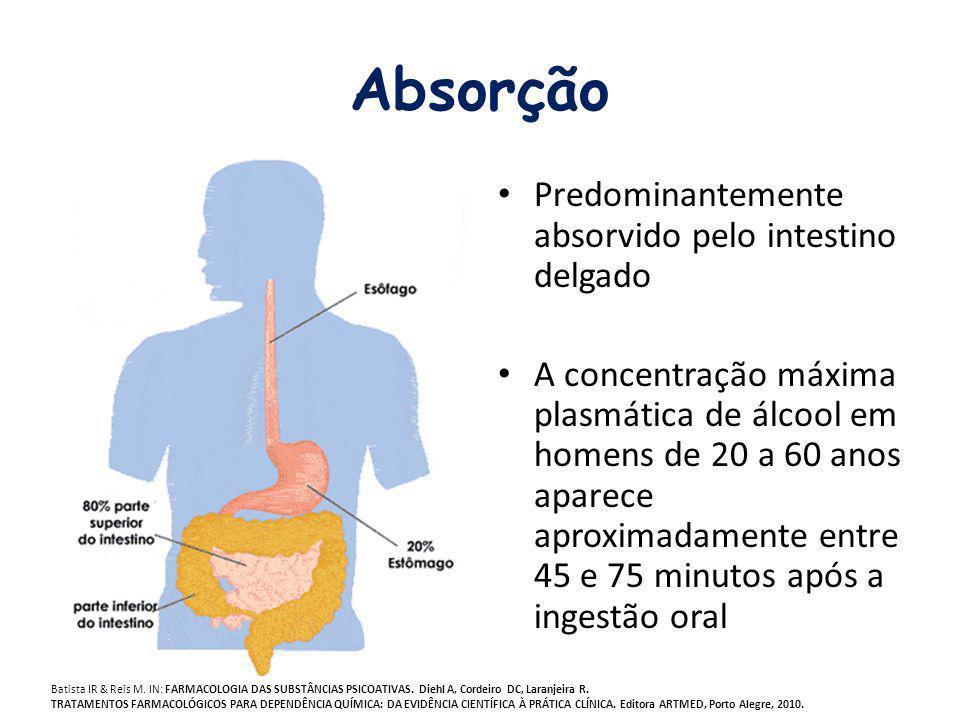 Absorção Predominantemente absorvido pelo intestino delgado