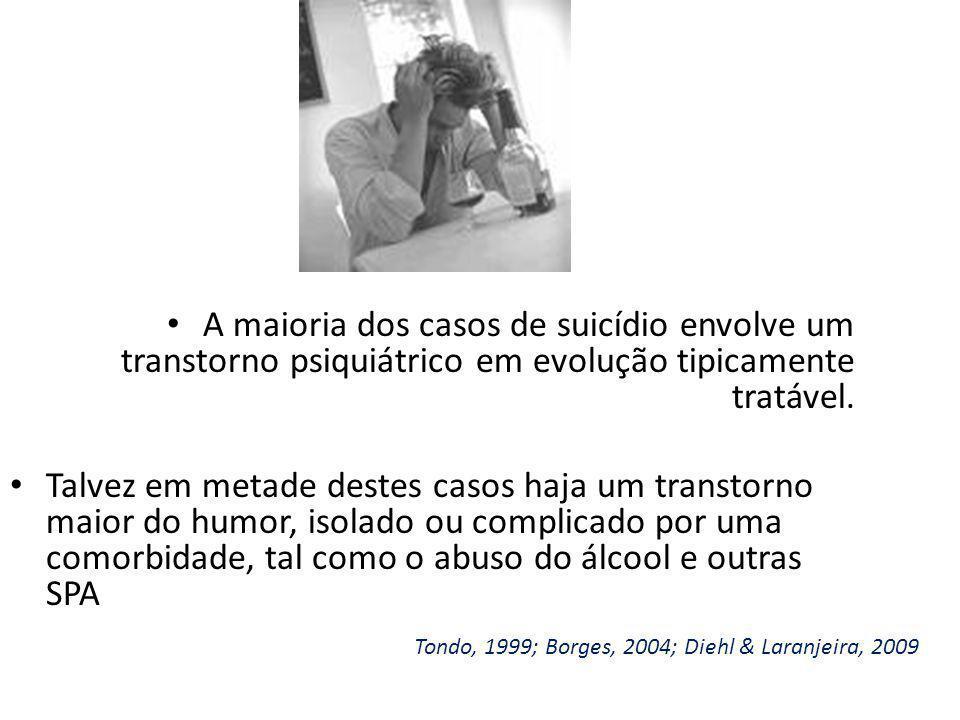 A maioria dos casos de suicídio envolve um transtorno psiquiátrico em evolução tipicamente tratável.