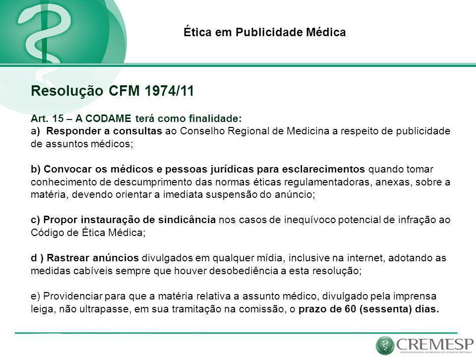 Resolução CFM 1974/11 Ética em Publicidade Médica