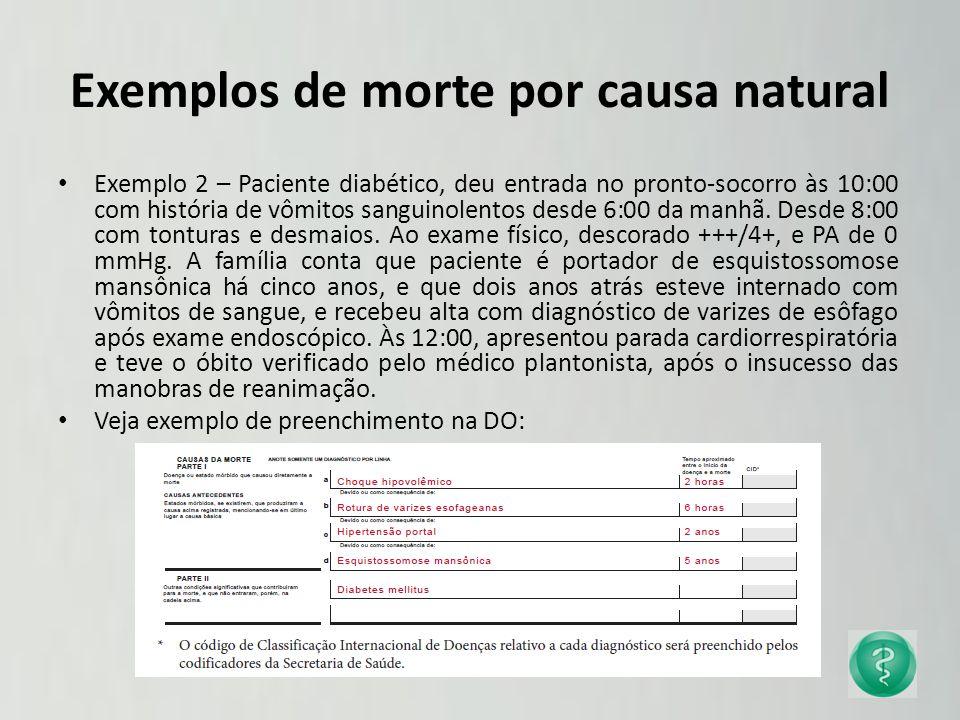 Exemplos de morte por causa natural