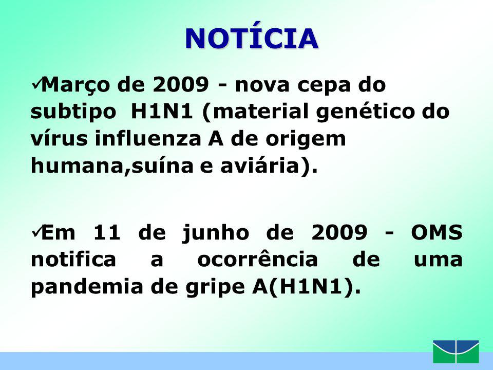 www.hub.unb.br NOTÍCIA. Março de 2009 - nova cepa do subtipo H1N1 (material genético do vírus influenza A de origem humana,suína e aviária).