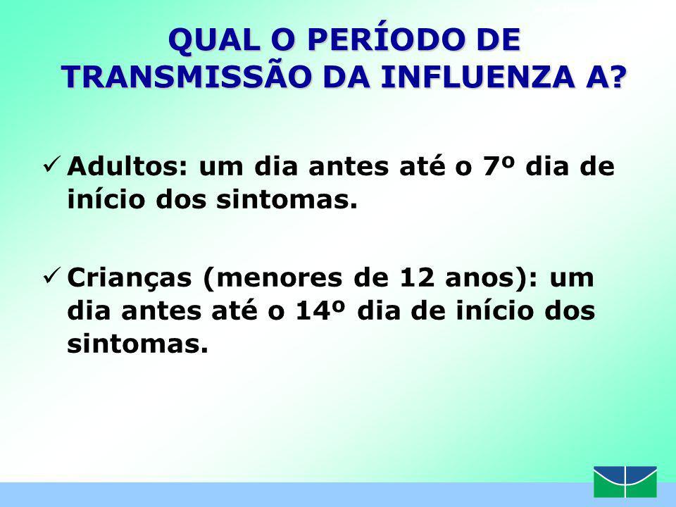 QUAL O PERÍODO DE TRANSMISSÃO DA INFLUENZA A