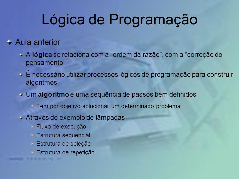 Lógica de Programação Aula anterior
