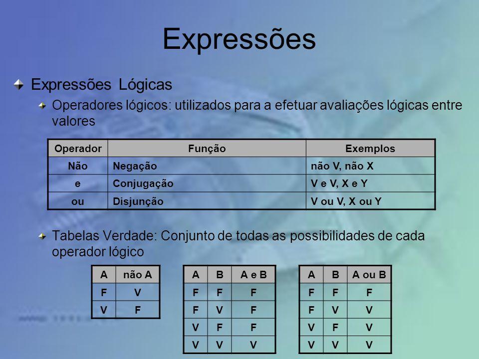 Expressões Expressões Lógicas