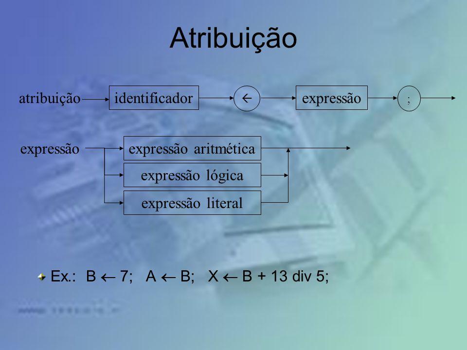 Atribuição atribuição identificador expressão expressão