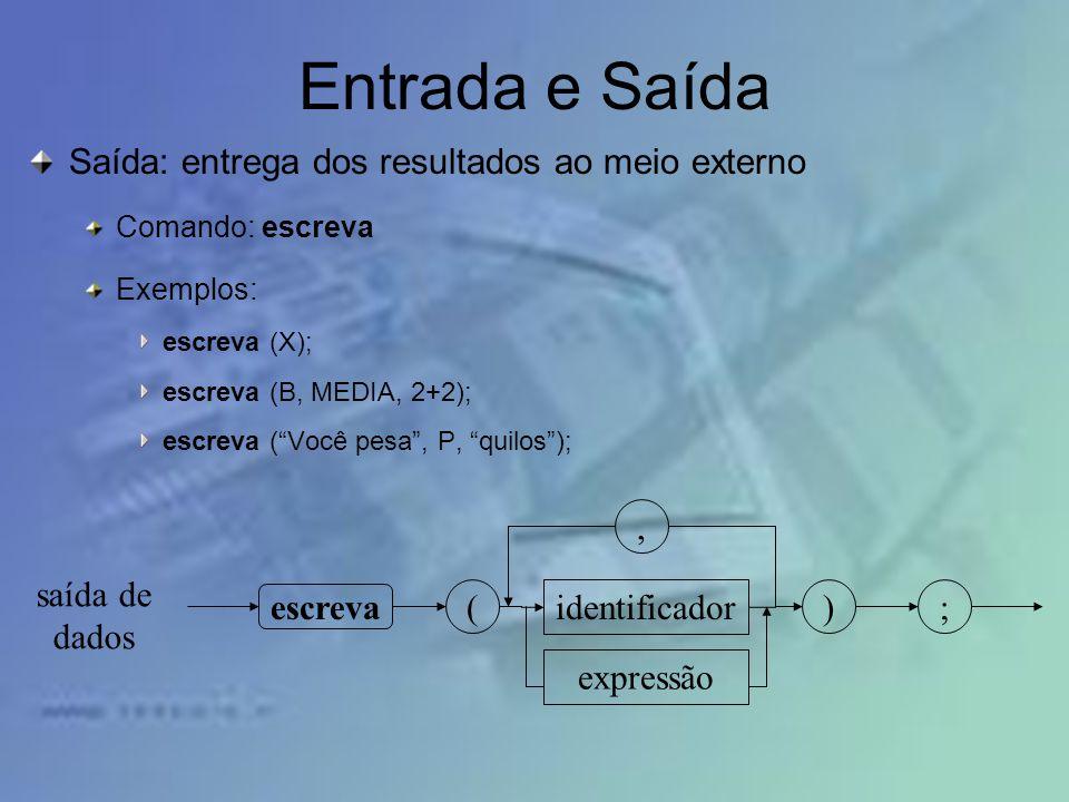 Entrada e Saída Saída: entrega dos resultados ao meio externo ,