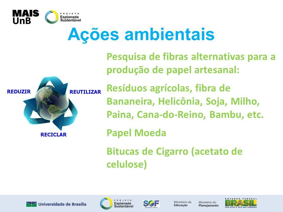 Ações ambientais Pesquisa de fibras alternativas para a produção de papel artesanal: