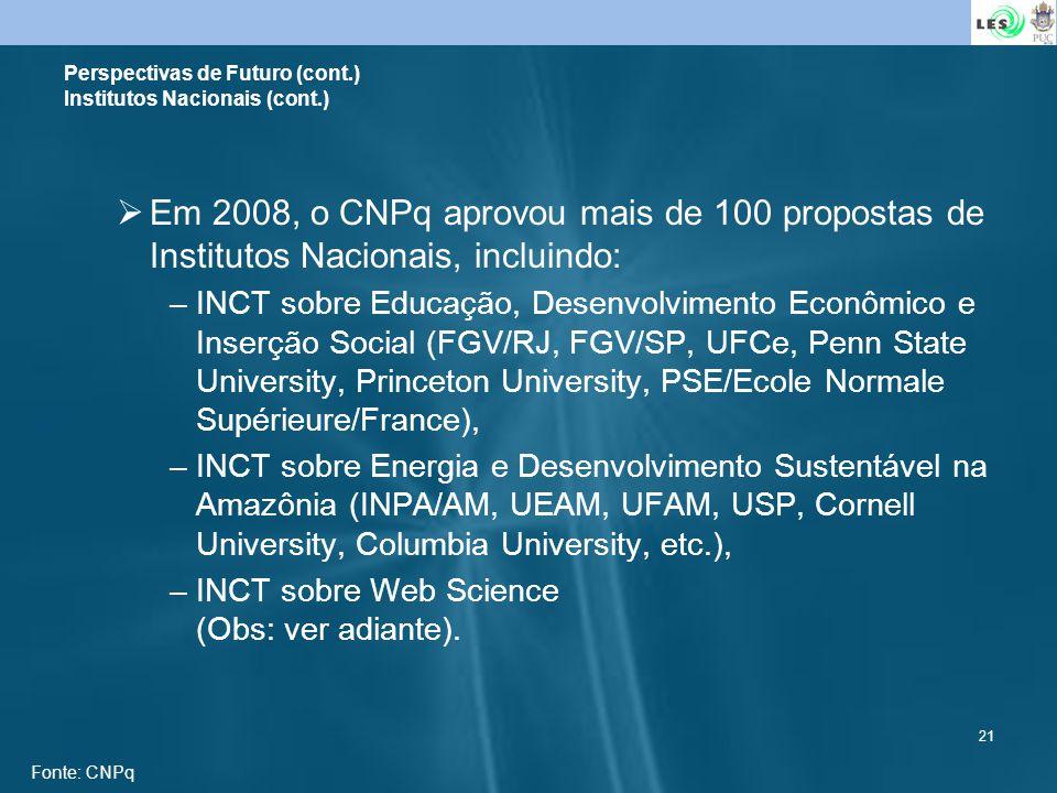 Perspectivas de Futuro (cont.) Institutos Nacionais (cont.)