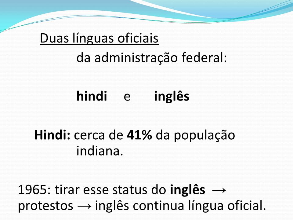 da administração federal: hindi e inglês