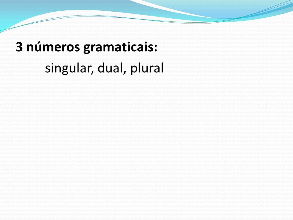 3 números gramaticais: singular, dual, plural