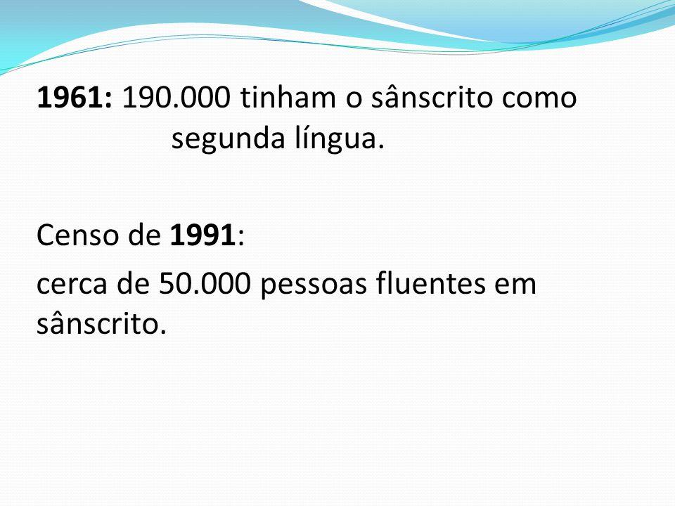 1961: 190. 000 tinham o sânscrito como segunda língua