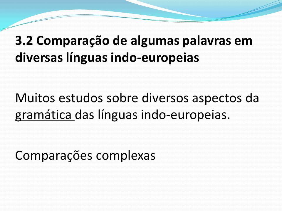 3.2 Comparação de algumas palavras em diversas línguas indo-europeias Muitos estudos sobre diversos aspectos da gramática das línguas indo-europeias.