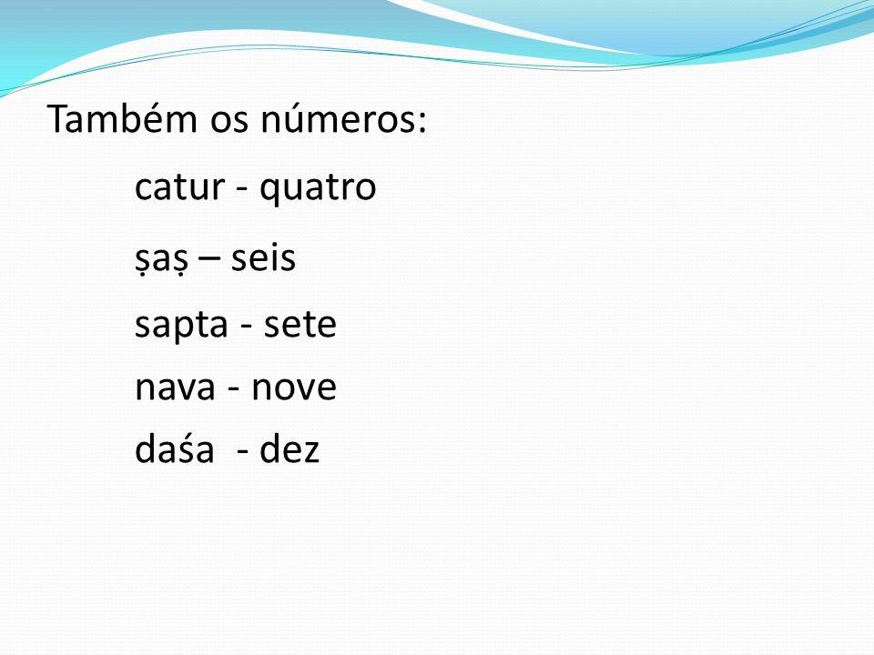 Também os números: catur - quatro ṣaṣ – seis sapta - sete nava - nove daśa - dez