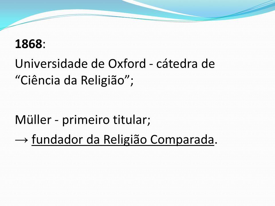 1868: Universidade de Oxford - cátedra de Ciência da Religião ; Müller - primeiro titular; → fundador da Religião Comparada.