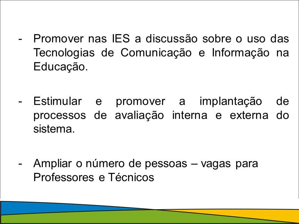 Promover nas IES a discussão sobre o uso das Tecnologias de Comunicação e Informação na Educação.