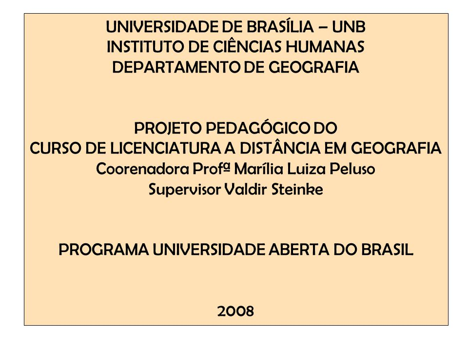 UNIVERSIDADE DE BRASÍLIA – UNB INSTITUTO DE CIÊNCIAS HUMANAS